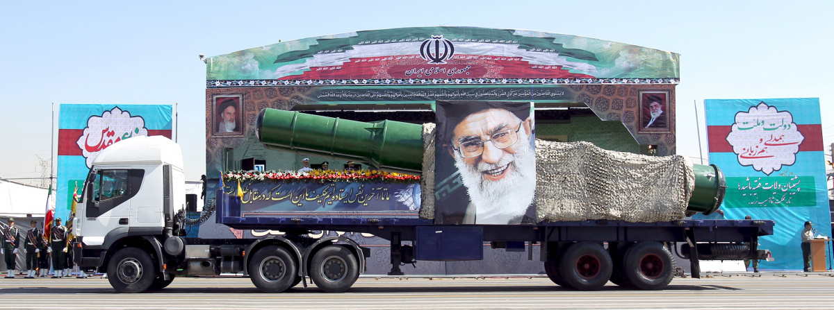 A military truck carrying a missile and a picture of Iran's Supreme Leader Ayatollah Ali Khamenei is seen during a parade marking the anniversary of the Iran-Iraq war (1980-88), in Tehran September 22, 2015.