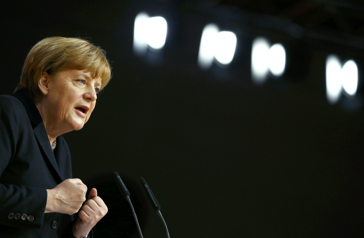 German Chancellor Angela Merkel and leader of the Christian Democratic Union (CDU) makes her keynote speech during the CDU party congress in Karlsruhe, Germany