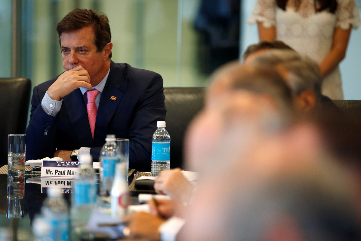Paul Manafort of Republican presidential nominee Donald Trump's staff listens during a round table discussion on security at Trump Tower