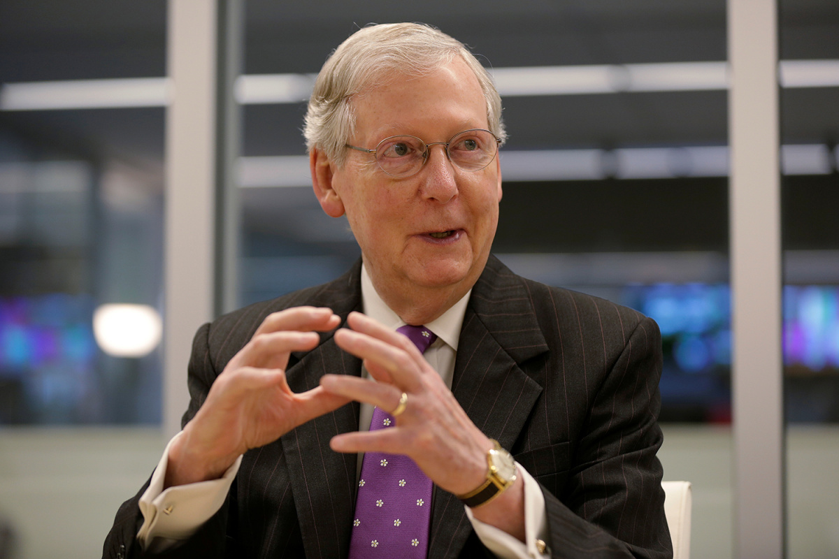 Senate Majority Leader Mitch Mc Connell speaks to Reuters during an interview