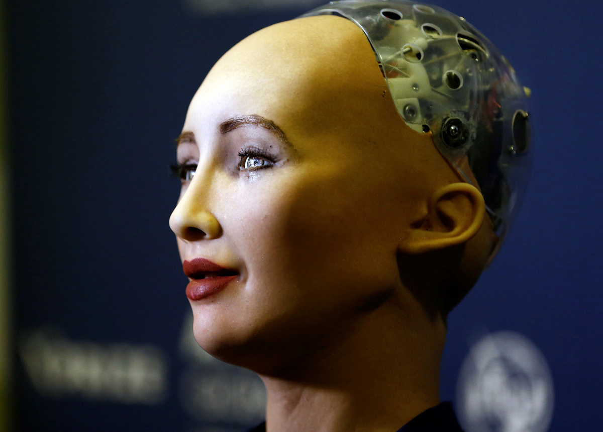 "Sophia, a robot integrating the latest technologies and artificial intelligence developed by Hanson Robotics is pictured during a presentation at the ""AI for Good"" Global Summit at the International Telecommunication Union (ITU) in Geneva, Switzerland"