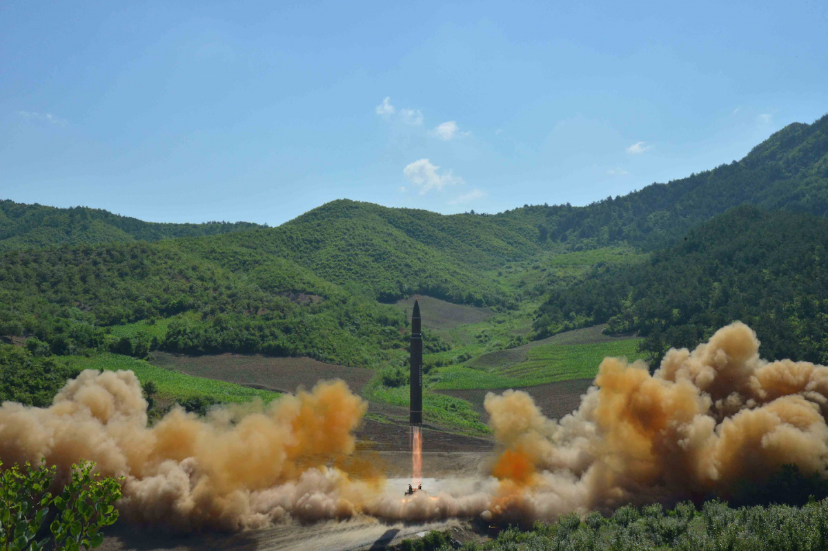 The intercontinental ballistic missile Hwasong-14 is seen during its test launch in this undated photo released by North Korea's Korean Central News Agency (KCNA) in Pyongyang, July 4, 2017. KCNA/via REUTERS