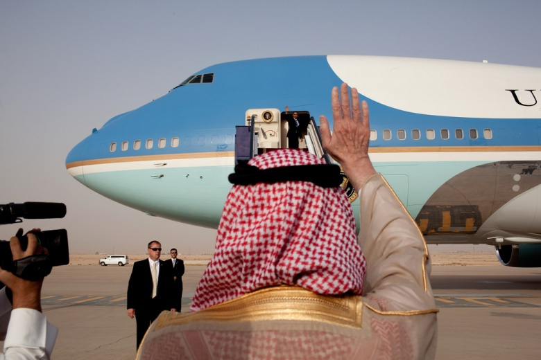 President Barack Obama waves as he departs King Khalid International Airport in Riyadh​. Flickr/The White House.