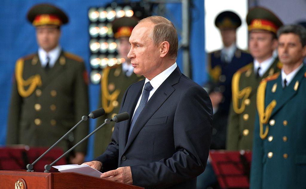 "Vladimir Putin at the opening ceremony of the international military-technical forum ""Army-2015."" Kremlin.ru"