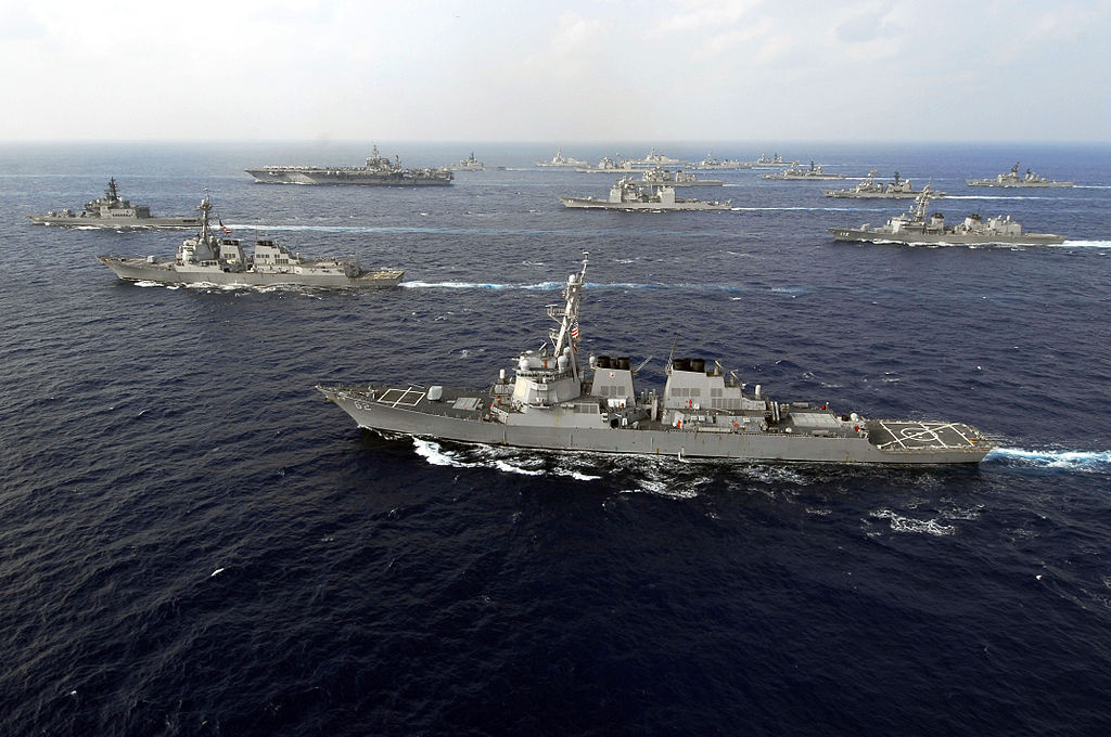 American and Japan Maritime Self-Defense Forces ships transit in formation during the U.S.-Japan exercise Keen Sword 08. Wikimedia Commons/U.S. Navy