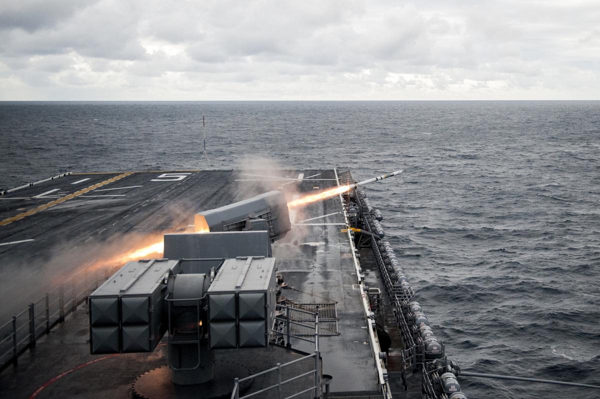 The amphibious assault ship USS Bataan conducts a live-fire exercise. Flickr/U.S. Navy