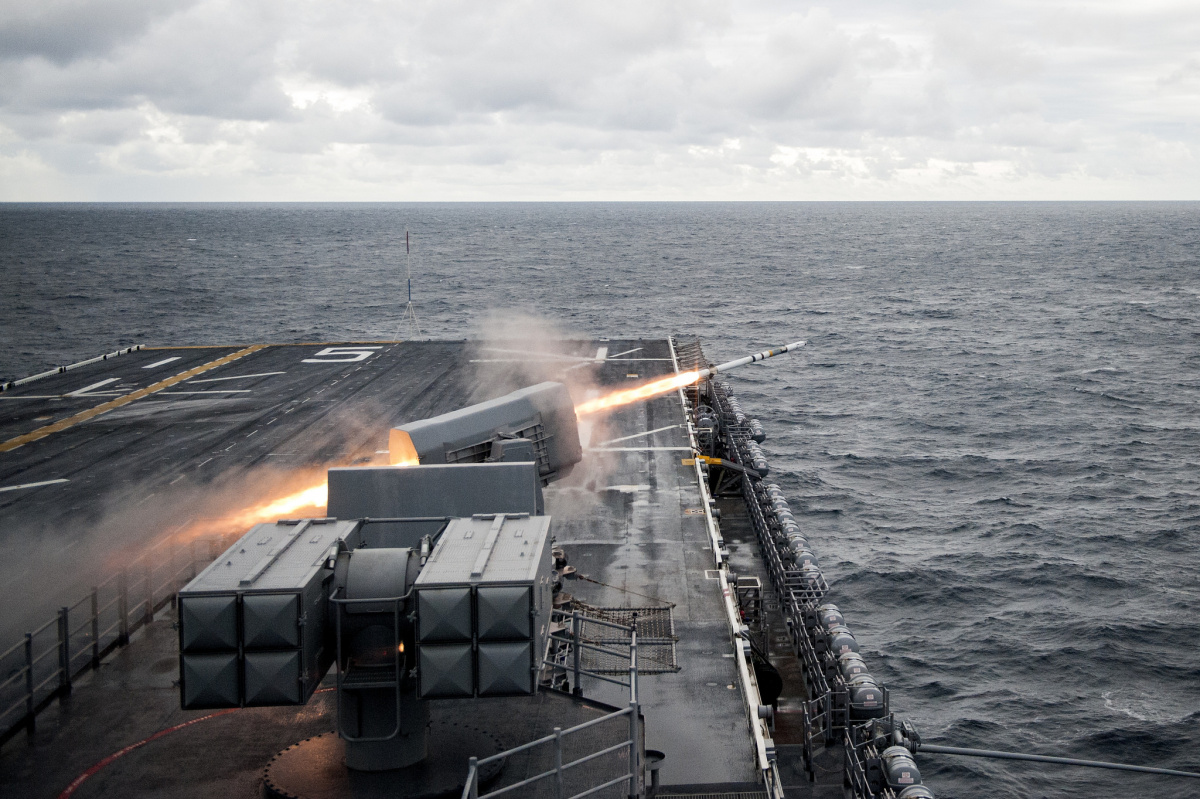 The amphibious assault ship USS Bataan conducts a live-fire exercise. Flickr/U.S. Navy