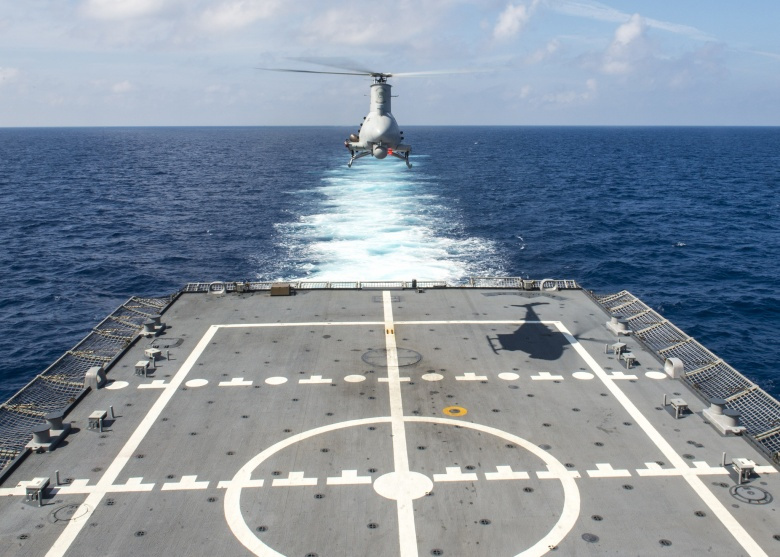 An MQ-8B Fire Scout unmanned aircraft system​ in the South China Sea. Flickr/Naval Surface Warriors