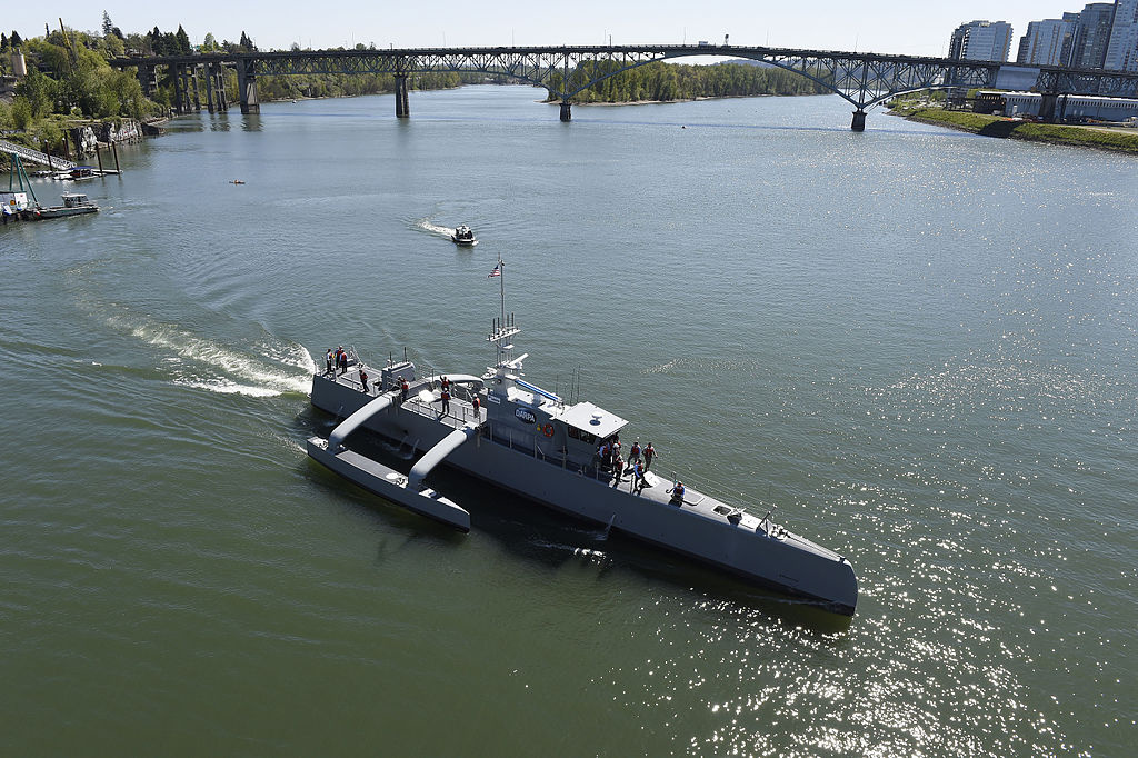 Sea Hunter gets underway on the Willamette River following a christening ceremony. Wikimedia Commons/U.S. Navy