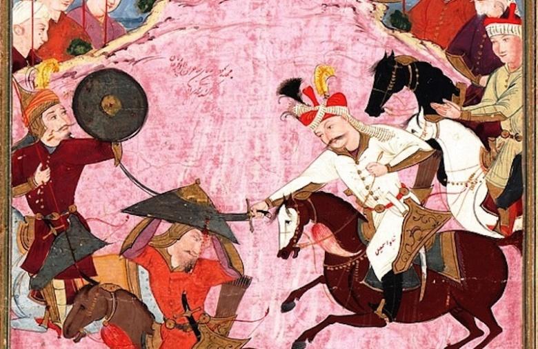 """""""The Battle between Shah Ismail and Shaybani Khan"""" from the Tarikh-i alam-aray-i Shah Ismail. Wikimedia Commons/Public domain"""