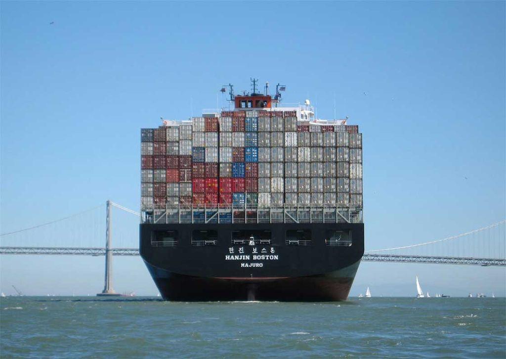 Hanjin container ship on San Francisco Bay. Wikimedia Commons/Creative Commons/@Mgunn