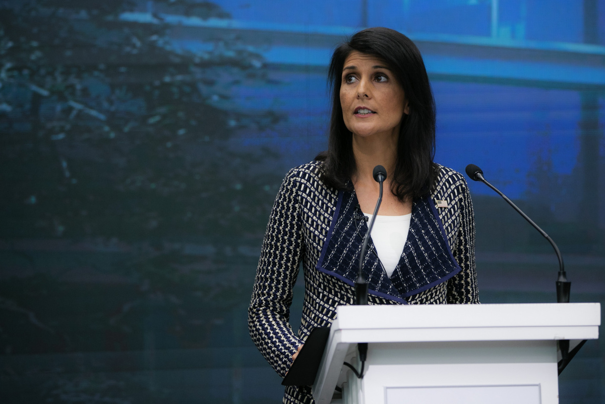 Ambassador Nikki Haley at Geneva's Graduate Institute June 6, 2017. Flickr/United States Mission Geneva