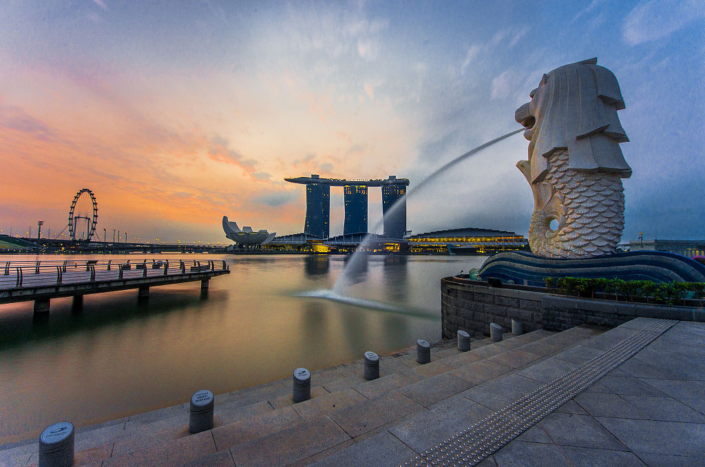The Merlion statue at Merlion Park, Singapore. Wikimedia Commons/Creative Commons/@fad3away