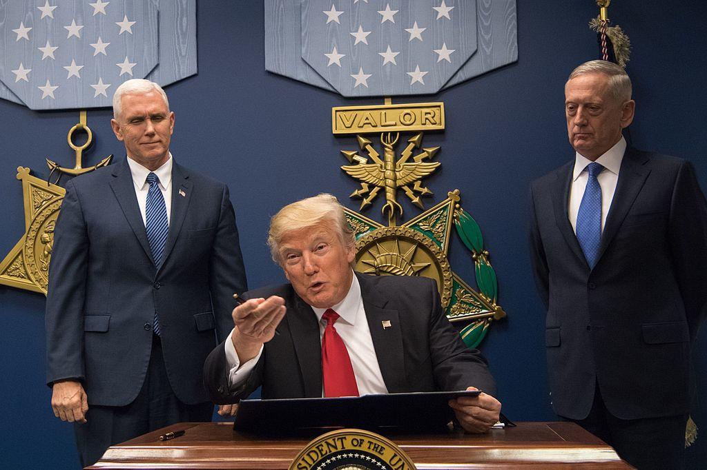 Donald Trump at the ceremony to swear in Defense Secretary James Mattis. Wikimedia Commons/Secretary of Defense