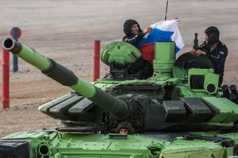 Image: Competitors in the Tank Biathlon event of the Russian-hosted International Army Games, 2016. Russian government photo.