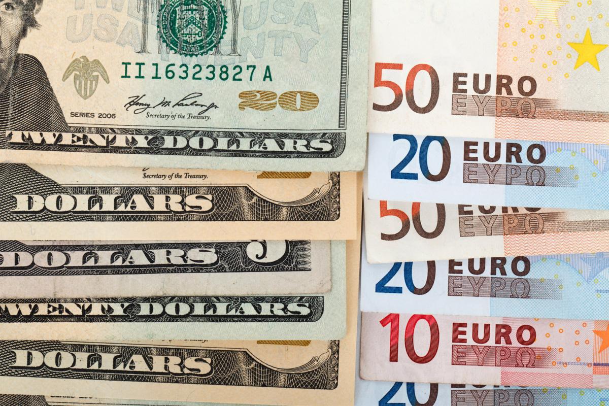 Stacks of dollars and euros