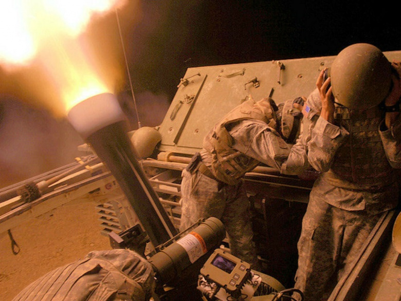 Image: M1129 Mortar Carrier firing. U.S. Army photo, public domain.