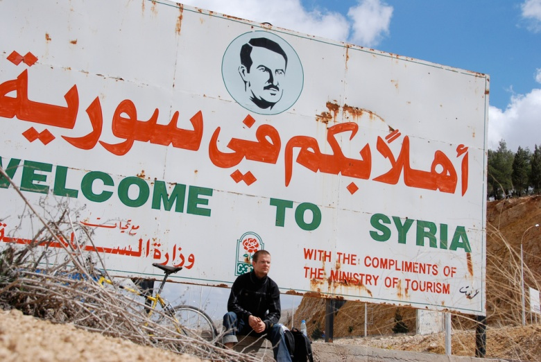 Sign welcoming visitors to Syria, along the Beirut-Damascus highway. Flickr/Paul Keller