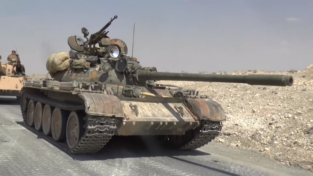 Two Syrian Army T-55s on the Ithriyah-Raqqa Highway. Wikimedia Commons/Creative Commons/Abkhazian Network News Agency