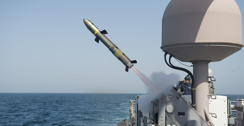 The U.S. Navy coastal patrol ship USS Firebolt fires a BGM-176B Griffin missile. Wikimedia Commons/U.S. Navy