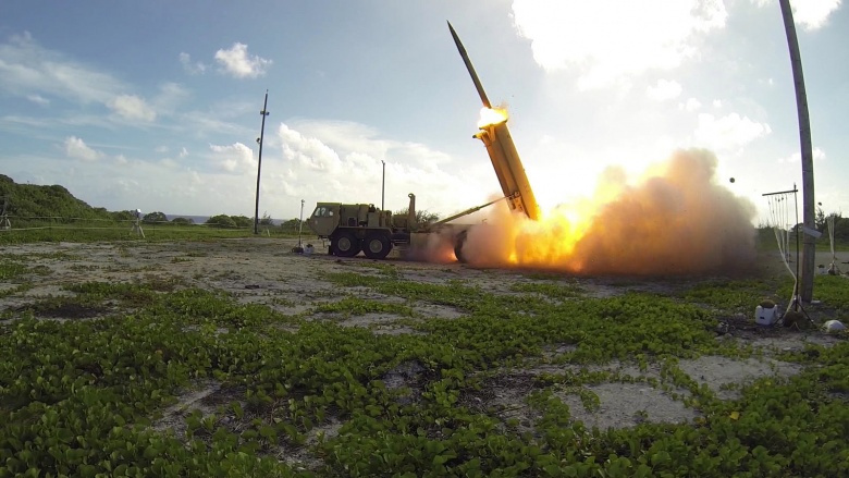 A Terminal High Altitude Area Defense (THAAD) interceptor is launched from a THAAD battery located on Wake Island. Flickr/U.S. Missile Defense Agency
