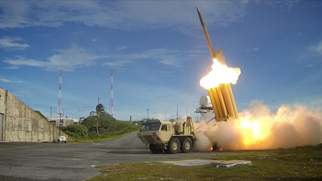 The first of two THAAD interceptors is launched during a successful intercept test. Wikimedia Commons/U.S. Army