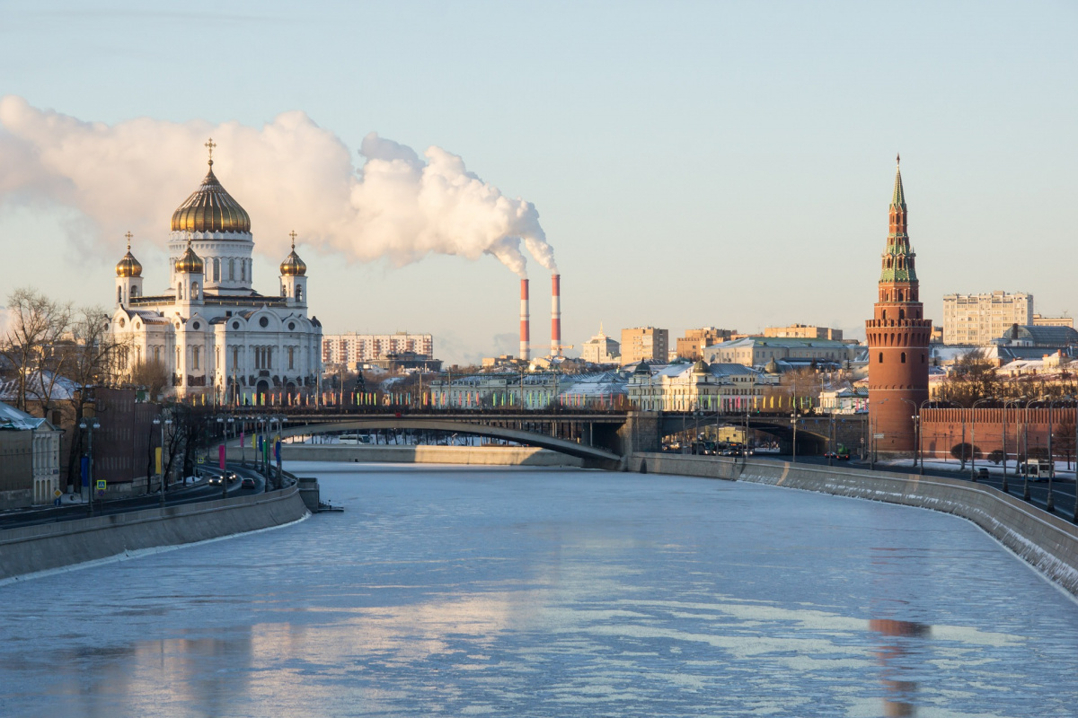 The Kremlin looms over the Moskva River in Moscow, Russia.