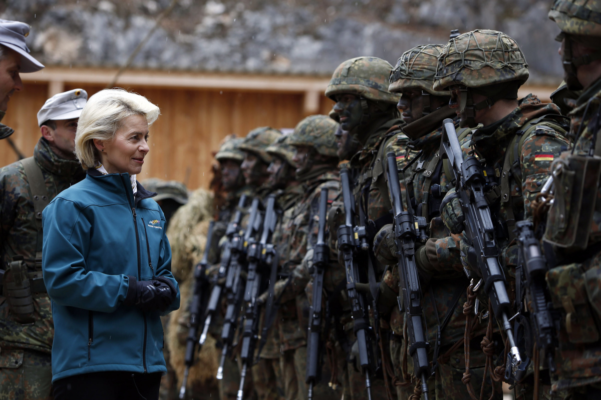 German Defence Minister Ursula von der Leyen meets soldiers during a visit to Kaserne Hochstaufen (mountain infantry military barracks) in Bad Reichenhall, southern German