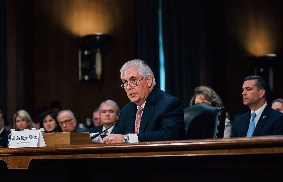 Rex Tillerson at his confirmation hearing. Wikimedia Commons/Trump-Pence transition project