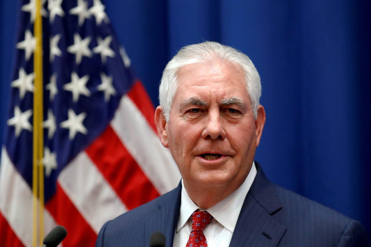 U.S. Secretary of State Rex Tillerson speaks to staff members at the U.S. Mission to the U.N. in Geneva