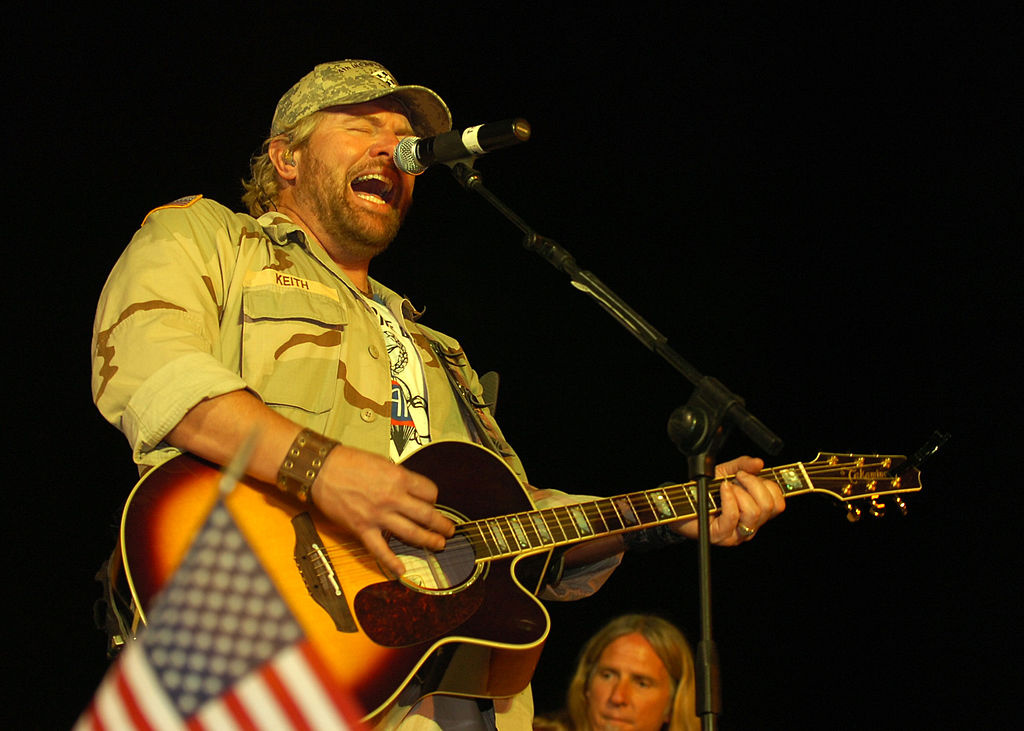Toby Keith performs for service members at the Camp Liberty Post Exchange Stage​. Wikimedia Commons/Public domain