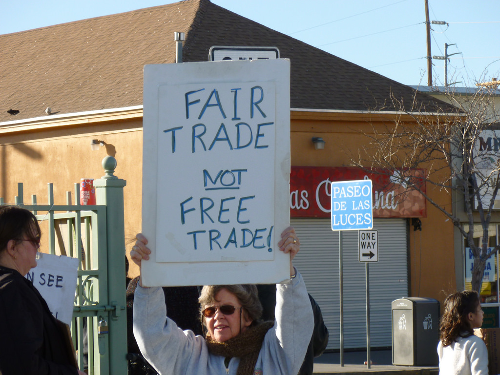 Anti–free trade protestor. Flickr/Creative Commons/Billie Greenwood