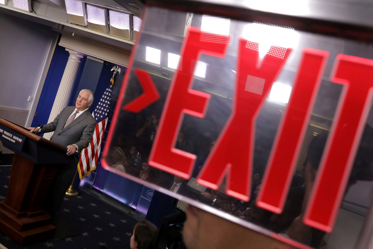 U.S. Secretary of State Rex Tillerson answers questions during the daily briefing at the White House in Washington
