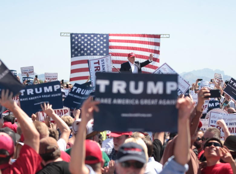 Donald Trump at a campaign rally in Fountain Hills, Arizona. Flickr/Gage Skidmore