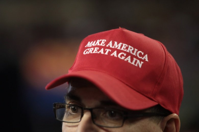 Image: Make America Great Again hat in support of Donald Trump at a rally at Veterans Memorial Coliseum at the Arizona State Fairgrounds in Phoenix, Arizona. Flickr/Gage Skidmore