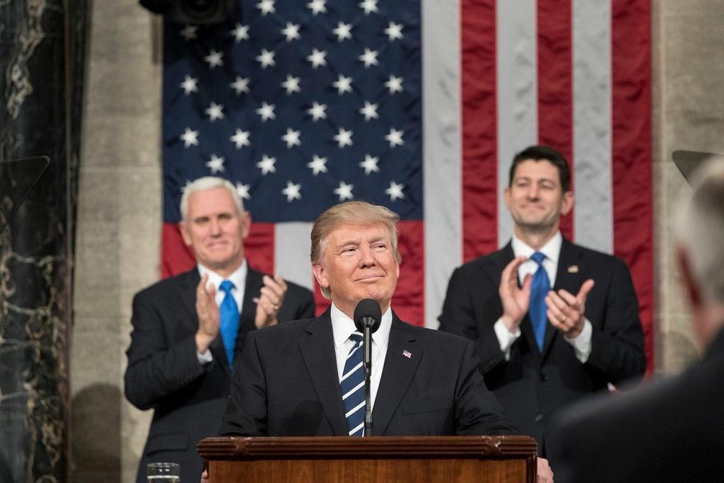 President Trump speaking at the Joint Session of Congress in Feb 2017. Behind him are Mike Pence and Paul Ryan.