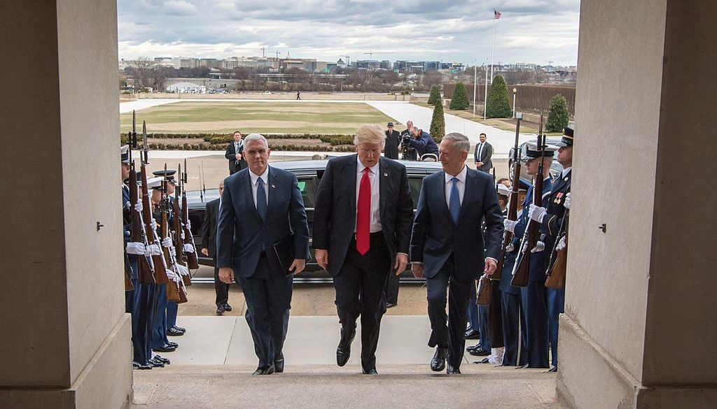 Donald Trump, Mike Pence and James Mattis walk up the steps of the Pentagon. Wikimedia Commons/Secretary of Defense