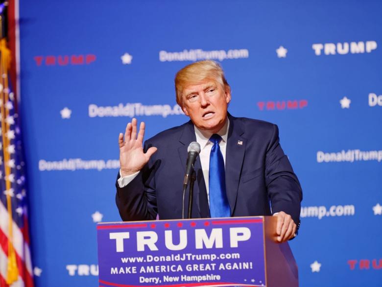 Image: Donald Trump at a rally in New Hampshire. Michael Vadon, CC BY-SA 2.0.