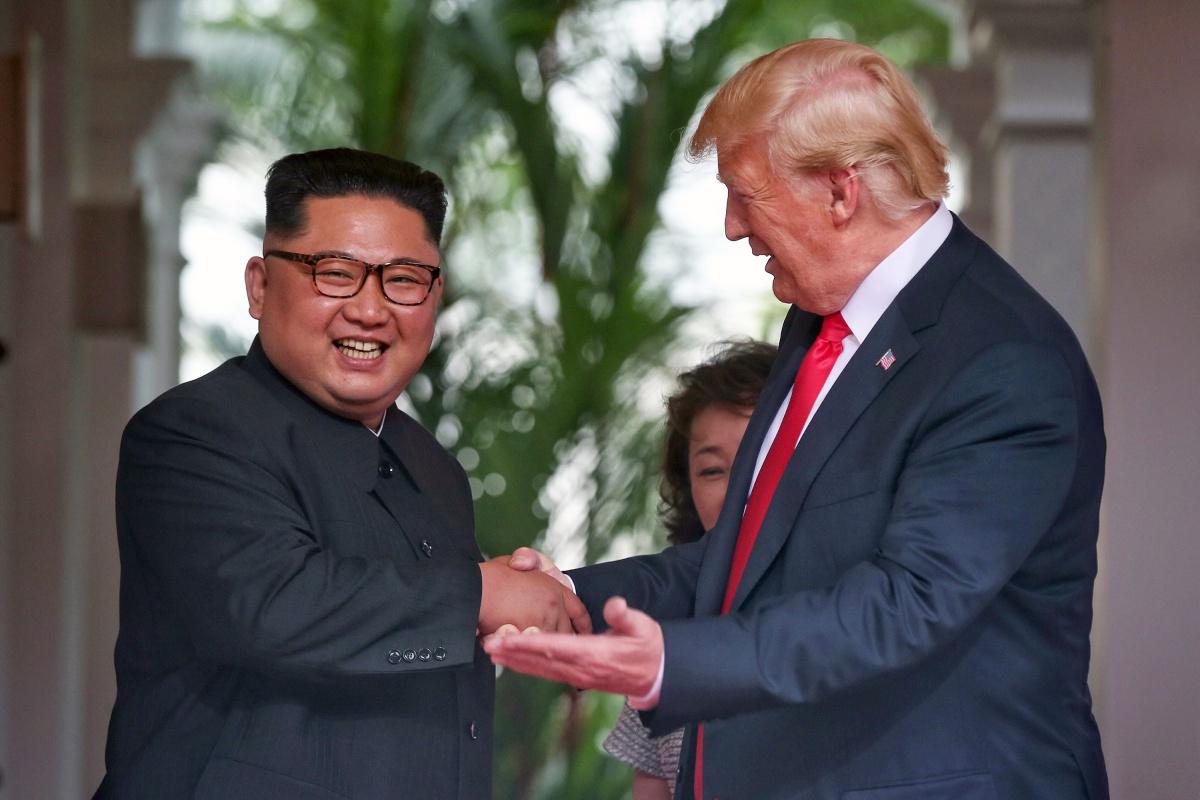 U.S. President Donald Trump meets North Korean leader Kim Jong Un at the Capella Hotel on Sentosa island in Singapore