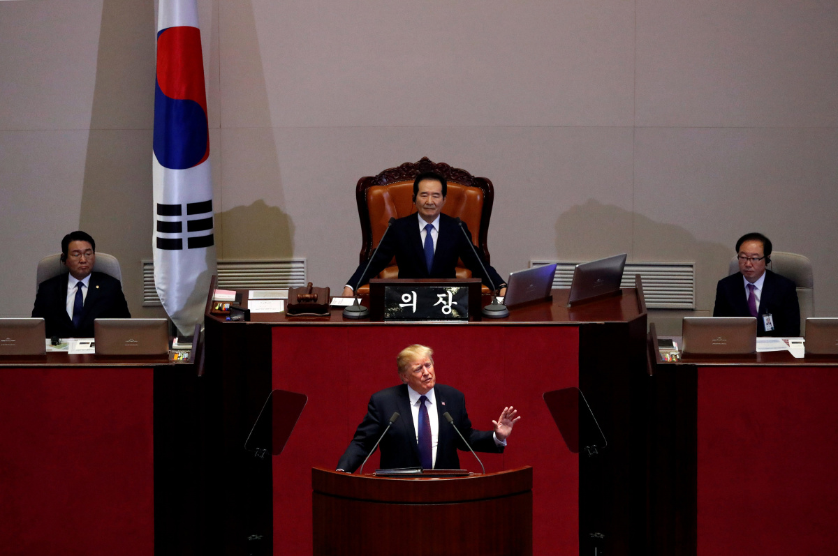 U.S. President Donald Trump speaks at the South Korean National Assembly in Seoul