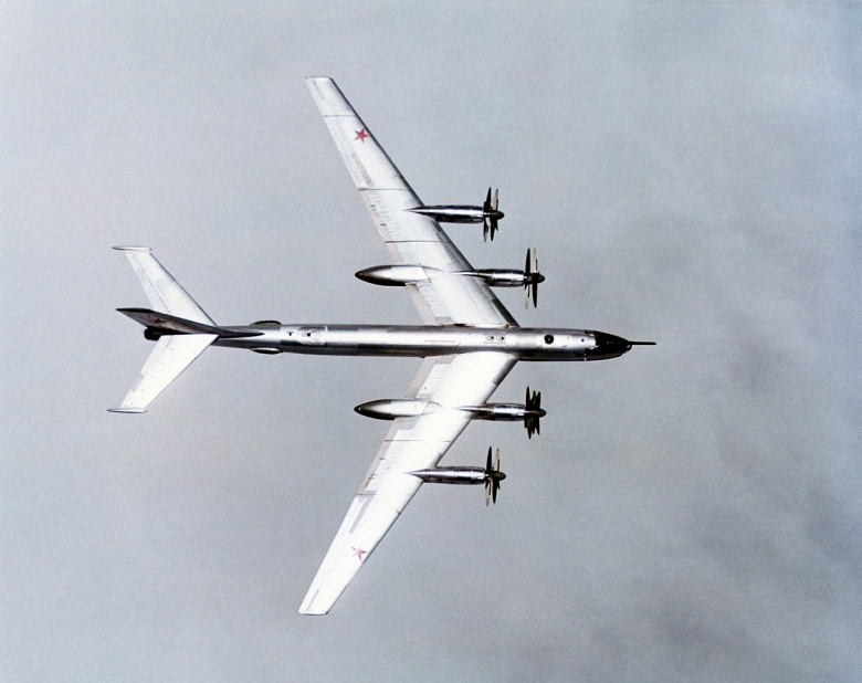 An air-to-air overhead view of a Soviet Tu-95 Bear aircraft. Wikimedia Commons/U.S. Navy