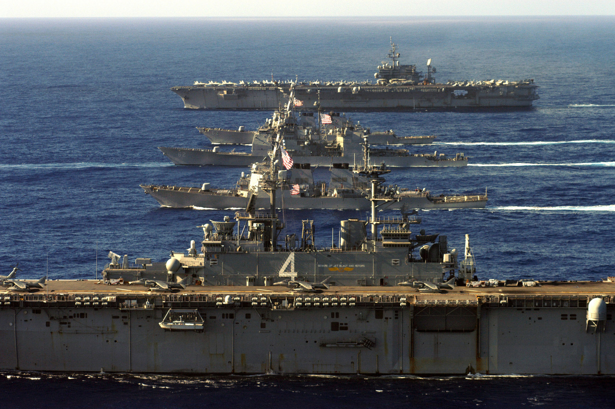 Pacific Ocean (Aug. 13, 2005) – The amphibious assault ship USS Boxer (LHD 4), the guided missile destroyer USS Curtis Wilbur (DDG 54), the guided missile cruiser USS Chancellorsville (CG 62), the guided missile destroyer USS Fitzgerald (DDG 62), and USS Kitty Hawk (CV 63) underway during a formation exercise with Destroyer Squadron Fifteen.