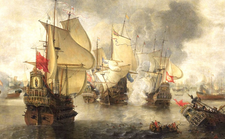 "Image: ""Battle of the combined Venetian and Dutch fleets against the Turks in the Bay of Foya, 1649."" Public domain."