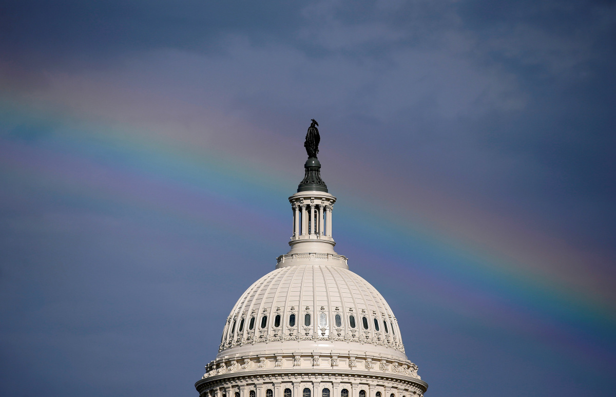 A rainbow shines over the U.S. Capitol in Washington