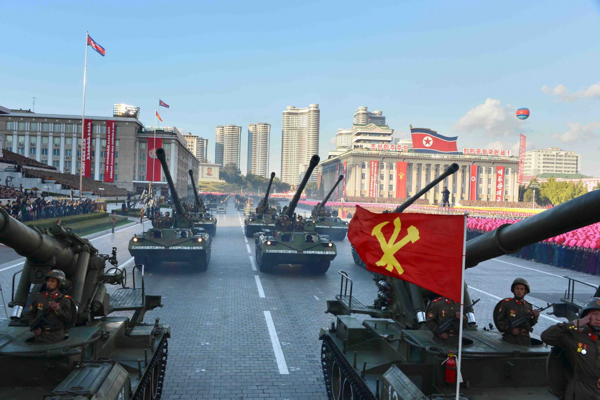 North Korean military participate in the celebration of the 70th anniversary of the founding of the ruling Workers' Party of Korea, in this undated photo released by North Korea's Korean Central News Agency (KCNA) in Pyongyang on October 12, 2015. REUTERS/KCNA