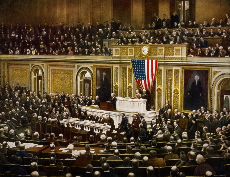 President Woodrow Wilson asking Congress to declare war on Germany, causing the United States to enter World War I. Wikimedia Commons/Library of Congress