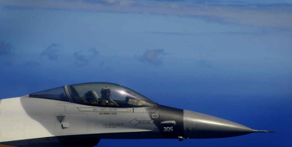 A U.S. Air Force F-16D Fighting Falcon takes off from Andersen Air Force Base, Guam. Flickr/U.S. Air Force