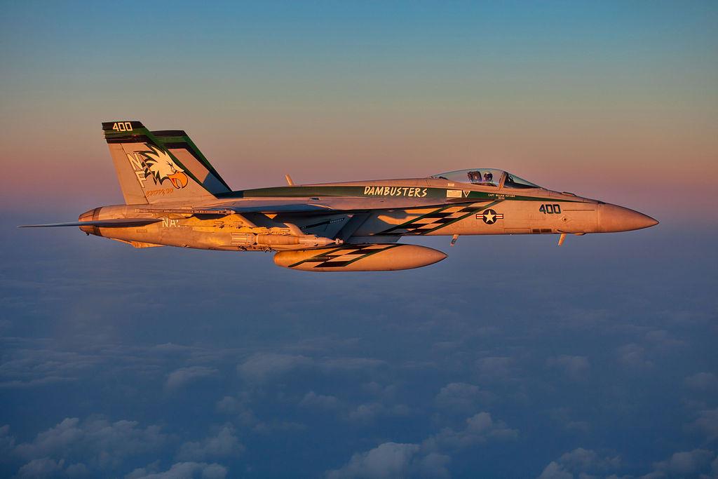 An FA-18E flies over the East China Sea. Wikimedia Commons/U.S. Navy