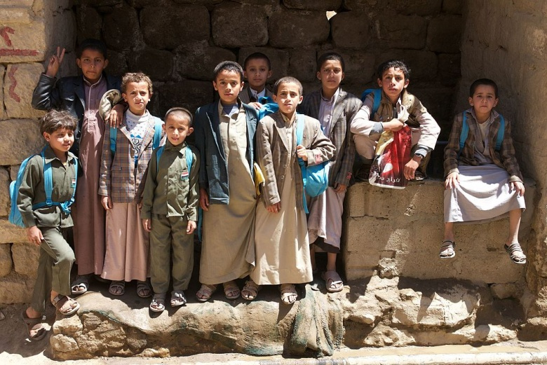 Children return to school in Sadah, Yemen. Wikimedia Commons/Julien Harneis