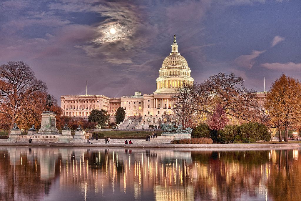 U.S. Capitol with rising moon. Wikimedia Commons/Creative Commons/Bill Woolf